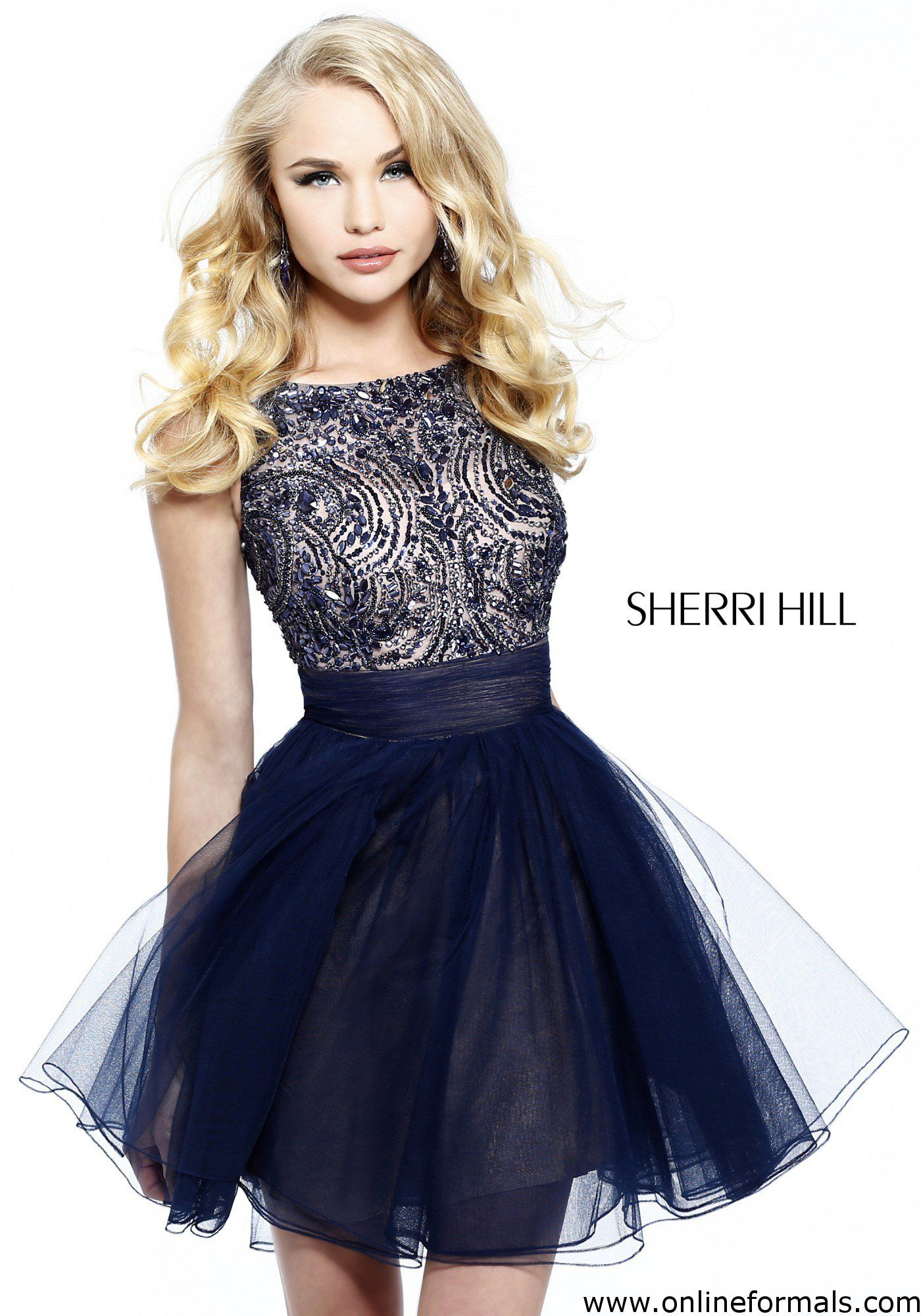 Cheap Sherri Hill Dresses Sherri Hill 11032 Short Dress Military