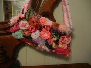 Freeform crochet purse. by deloolarocks