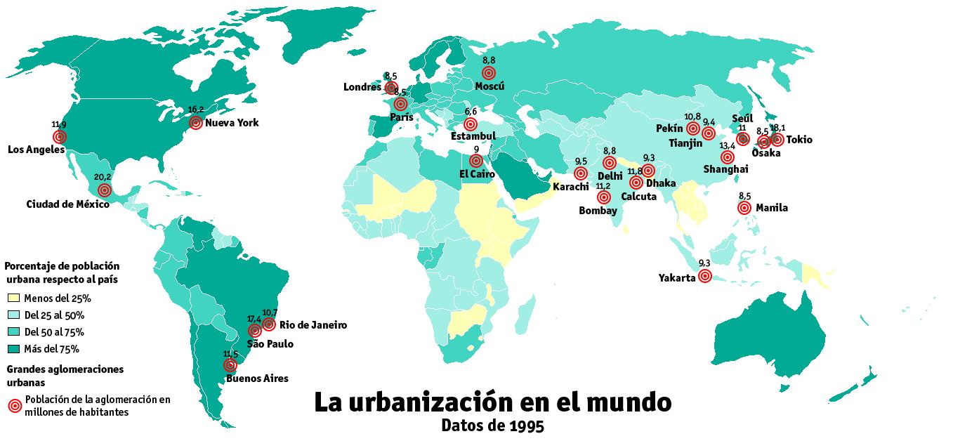 MAPA URBANIZACION EN EL MUNDO  Buscar con Google  Un mundo