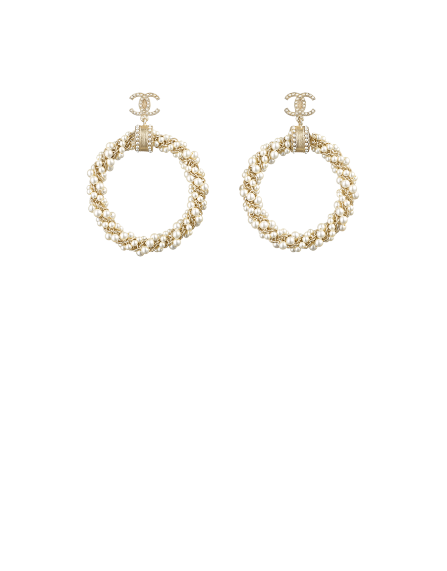 Hoop Earrings Metal Gl Pearls Resin Gold Pearly White Chanel