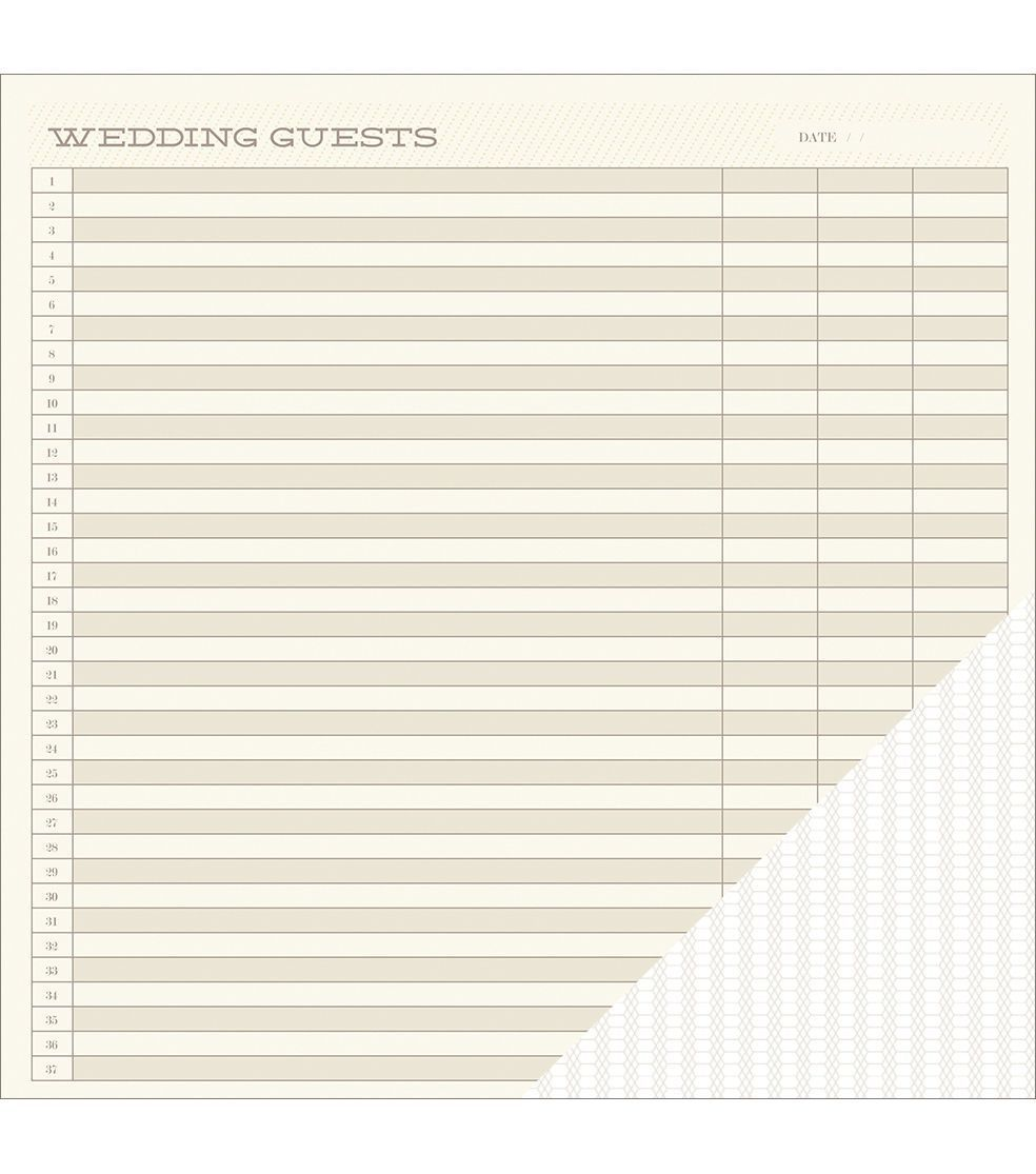 American Crafts Wedding Guest List Double-Sided Cardstock