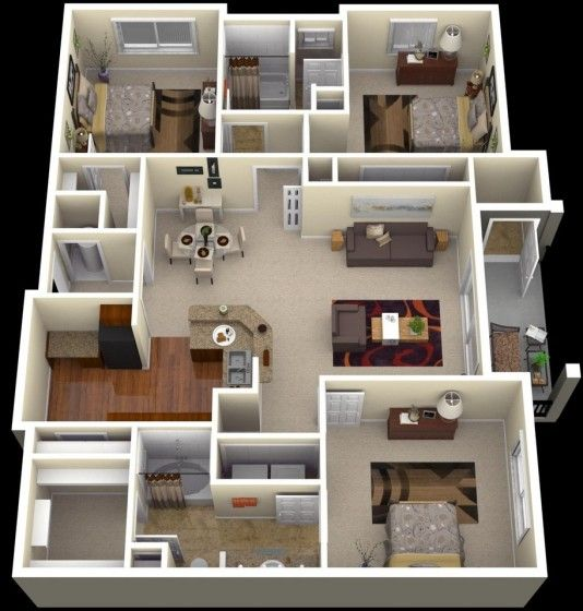 20 planos de departamentos de 3 habitaciones modernos for Disenos para departamentos