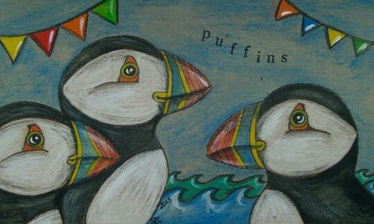 Puffins by Cornish connection Art https://www.facebook.com/cornishconnectionart