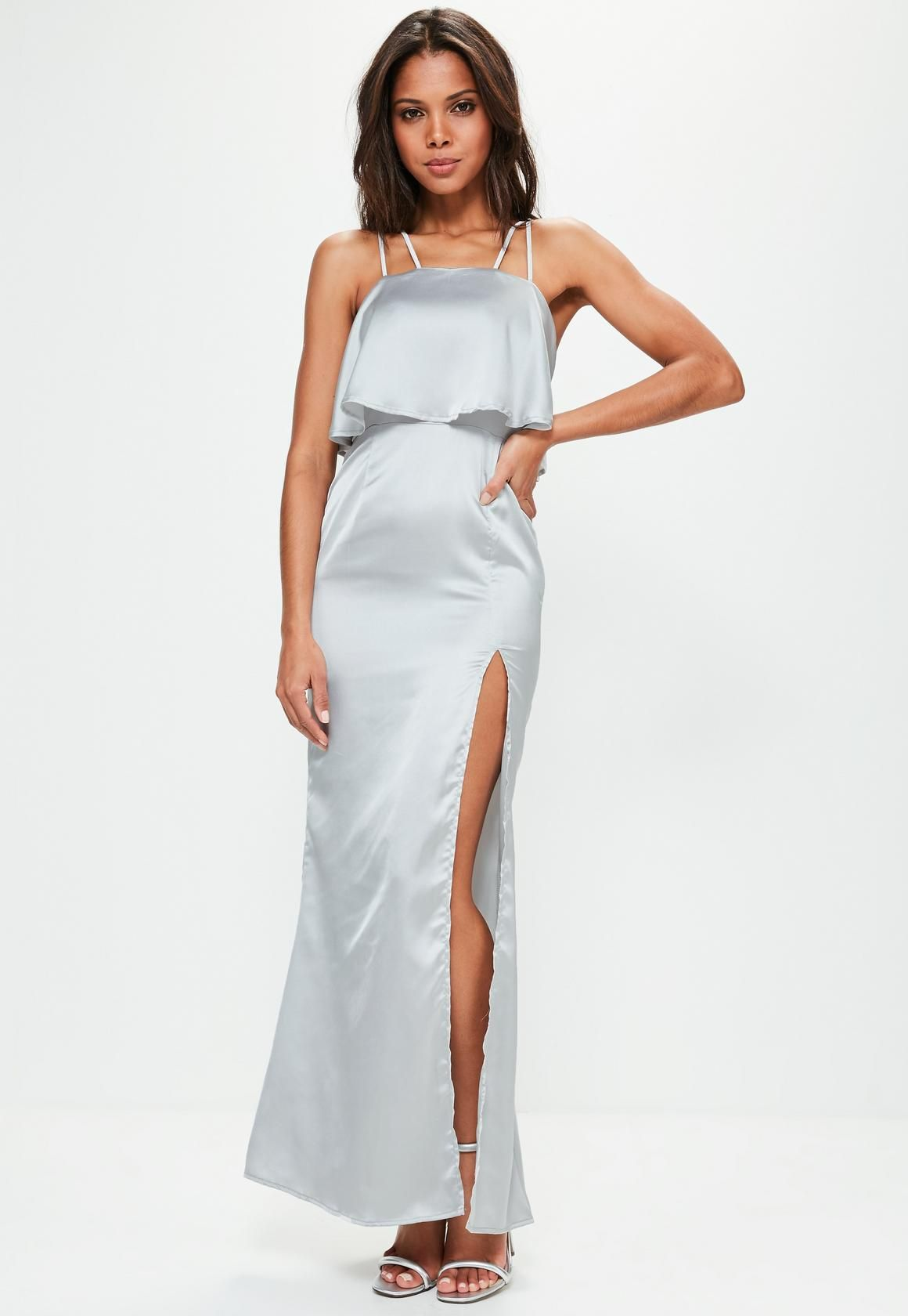 Silver silky double layer maxi dress miss guided pinterest