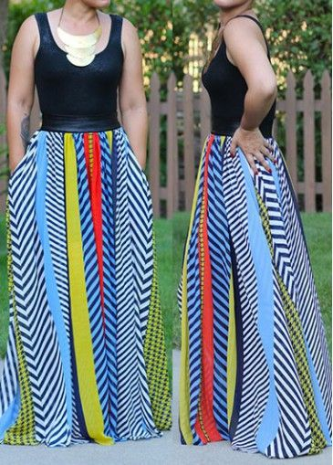 Round Neck High Waist Printed Dress on sale only US$22.83 now, buy cheap Round Neck High Waist Printed Dress at modlily.com