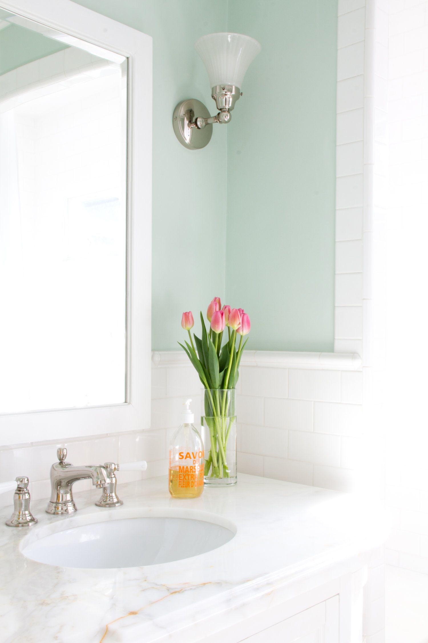 Loving This Mint Green In The Powder Room So Fresh And Clean Design By J Kurtz Design Green Bathroom Colors Mint Green Bathrooms Green Bathroom