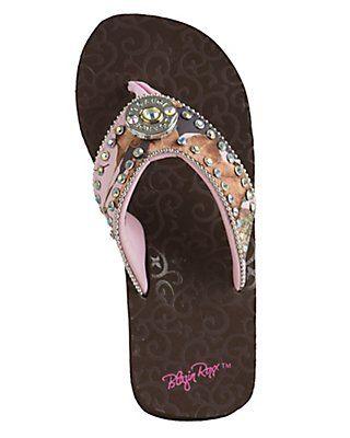 5d2e173310aab M&F Blazin Roxx Women's Charlee Pink Camo Shotgun Shell Concho Flip Flops