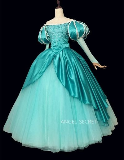 39b14b733cc0 P395 Ariel mermaid Cosplay Costume Dress tailor made women princess green  gown