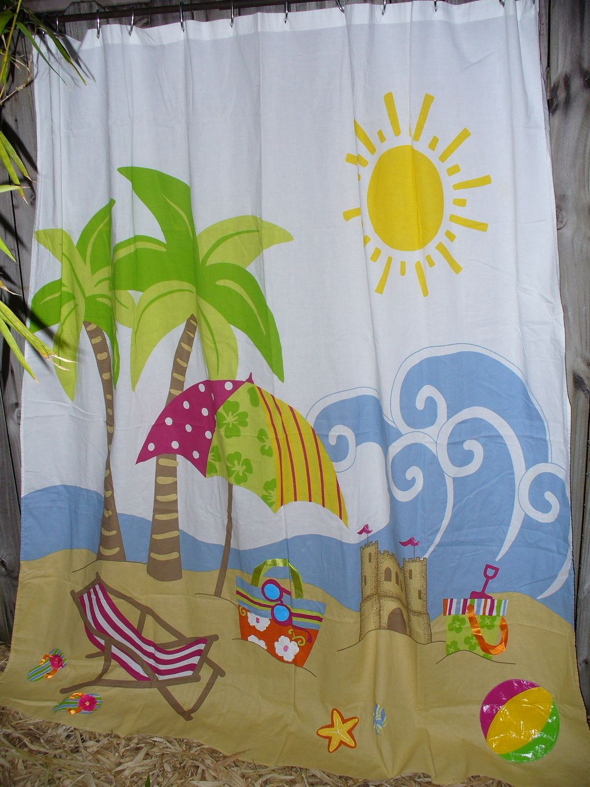 Circo Day At The Beach Fabric Shower Curtain Palm Tree Flip Flops