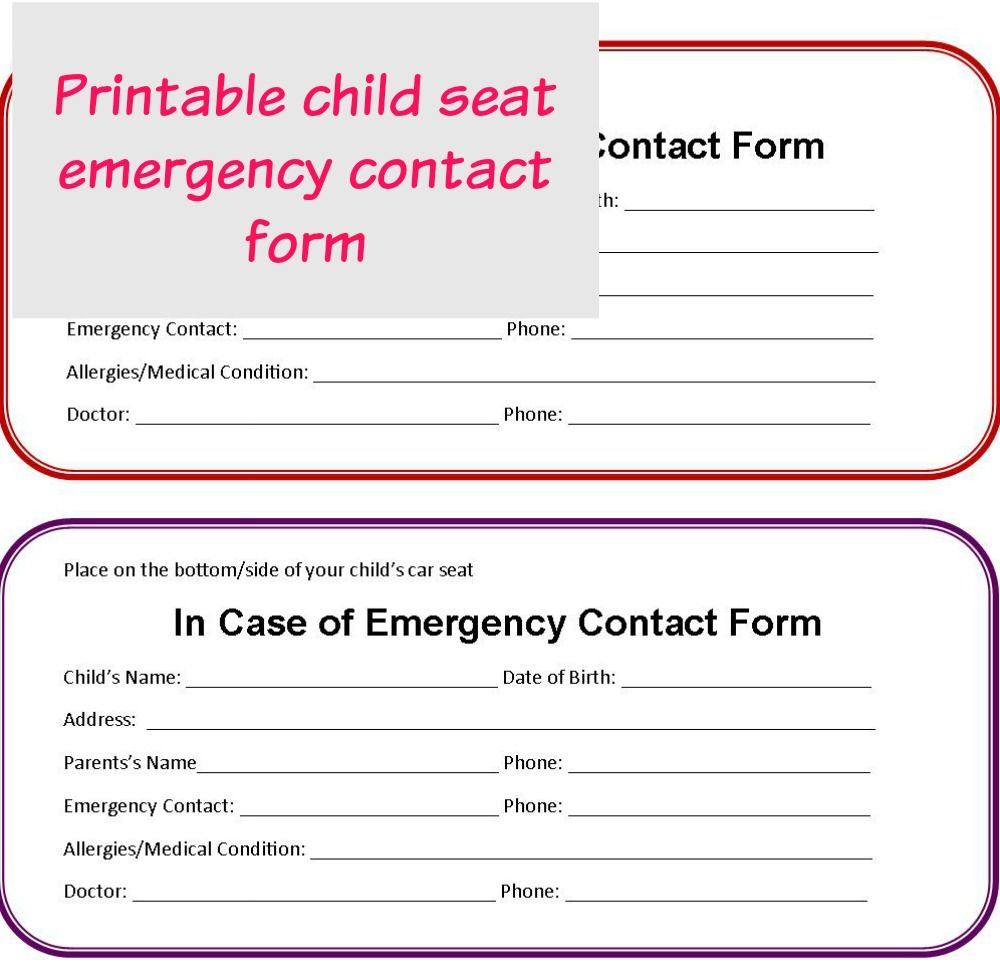 Account Suspended Emergency Contact Form Emergency Contact In Case Of Emergency Emergency contact form for children
