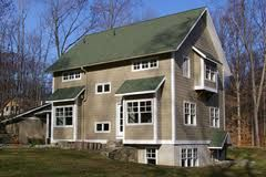 Like The Siding Color For Cottage Goes With The Green Roof Green Roof House Exterior Paint Colors For House House Paint Design