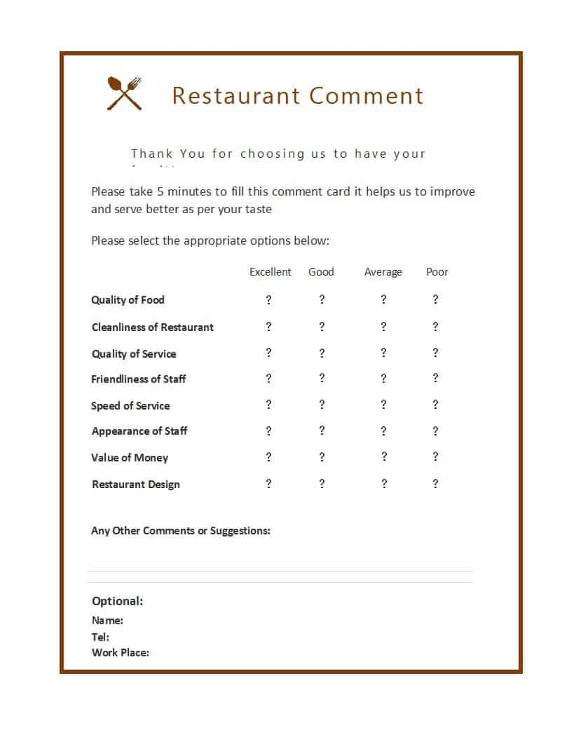 Feedback And Thinking Of The Customers About Your Restaurant Or Any Other Type Of Business Plays Helps You A L Card Templates Free Card Template Card Templates