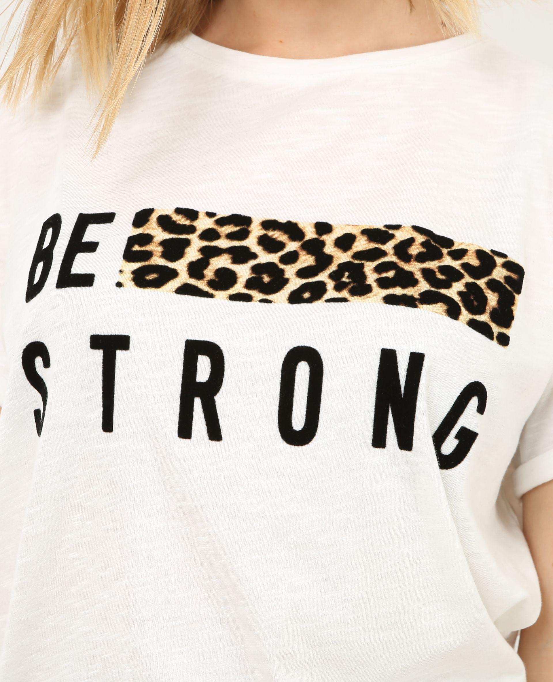 bcfb9df5e15c4 Camiseta con banda de leopardo blanco