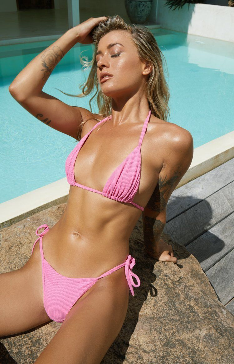 White Ribbed Bodycon Cheeky Brazilian Bikini Set