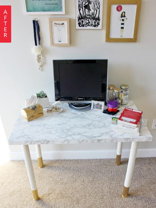 Before After Ikea Desk Gets A Quick Glam Makeover Diy Desk Ikea Table Desk Ikea Desk Top