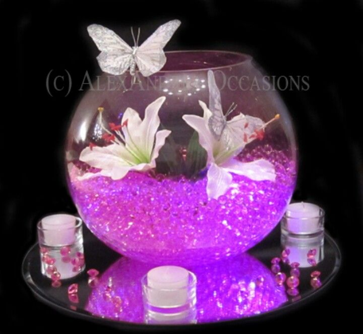 Lillys pink water beads and butterfly beautiful table