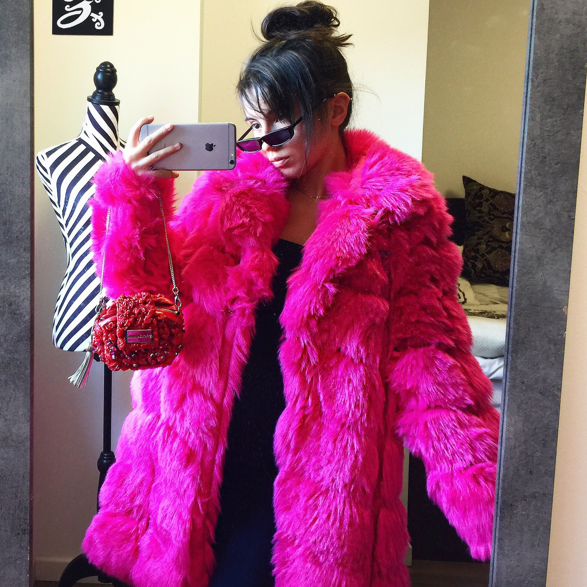Hot Pink faux fur coat by Missguided size uk 8 in Depop
