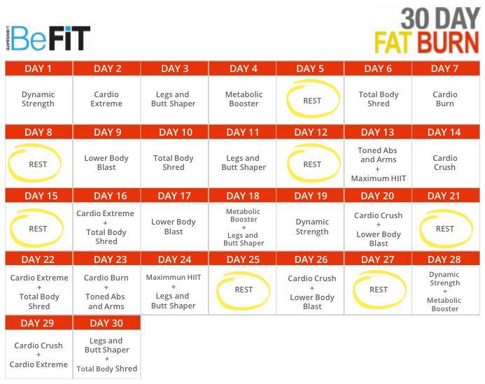 BeFit 30 Day Workout Calendar Workouts Pinterest Workout