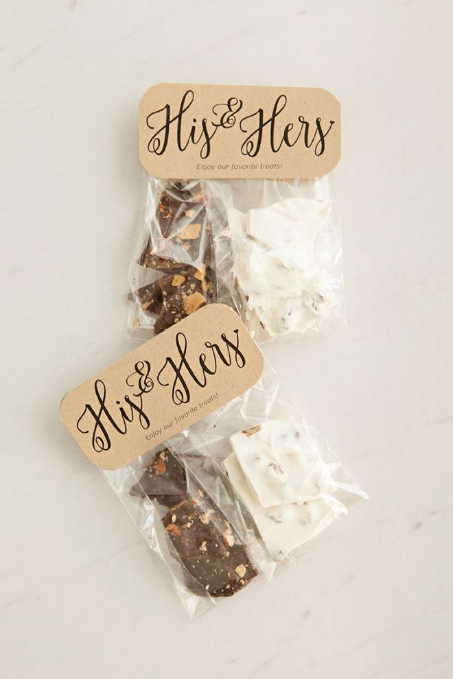 Check Out These DIY His & Hers Chocolate Bark Favors!