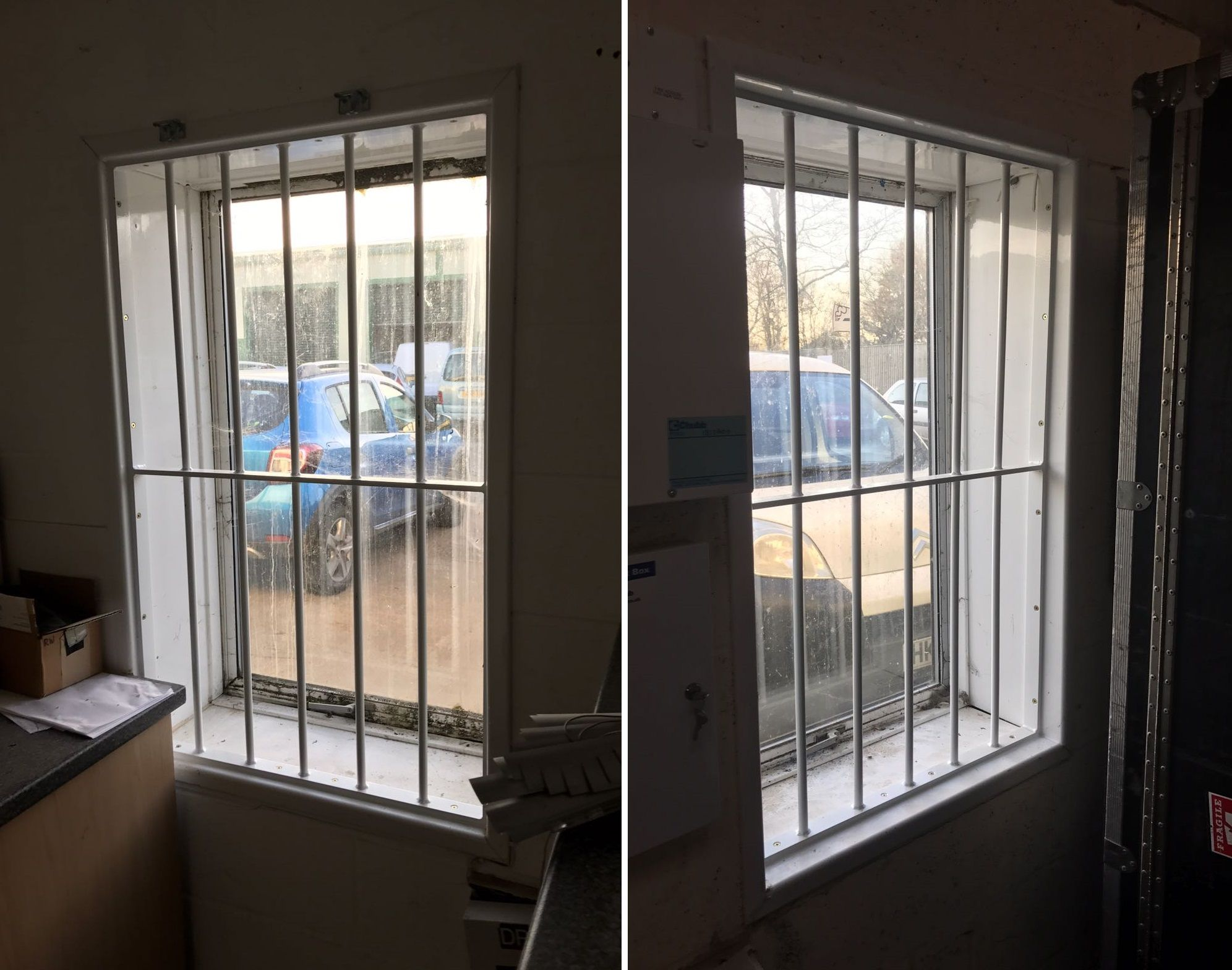 Installation Of Our Rsg2000 Security Window Bars Securing A Retail Warehouse In Romsey Hampshire Burglar Bars Window Bars Windows