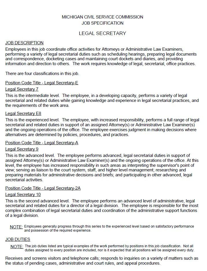 Legal Secretary Job Description Resumesdesign Assistant Jobs Job Description Administrative Assistant Resume