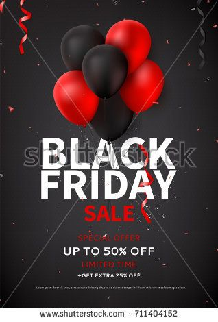Black Friday Sale Flyer Template Dark Background With Red And Black Balloons For Seasonal Discount Offer Black Balloons Black Friday Sale Flyer Black Friday