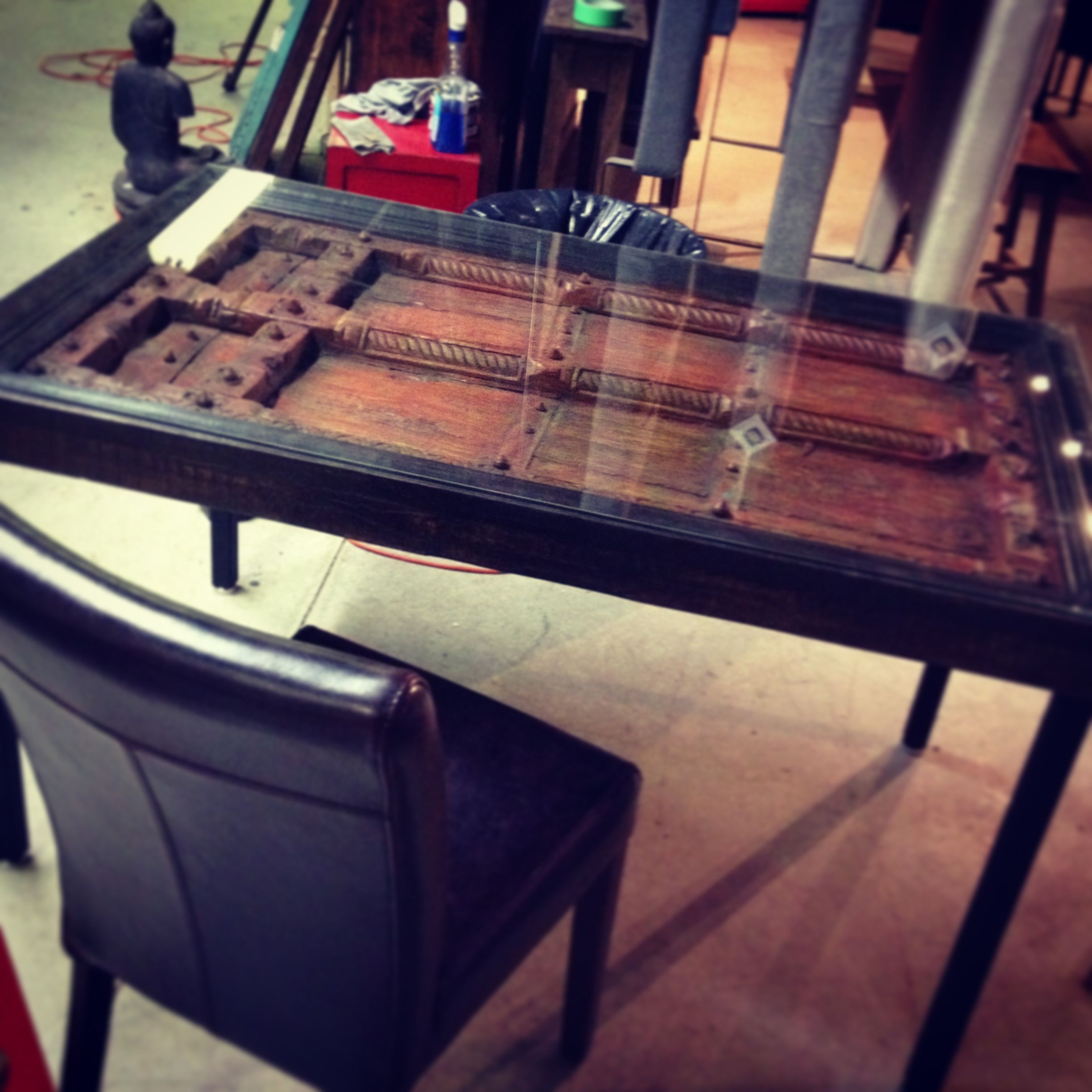 Indian Door Turned Table W Glass Top