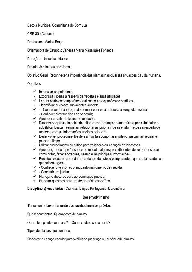 Escola Municipal Comunitária do Bom Juá CRE São Caetano Professora - construction proposal sample
