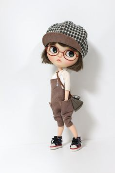 Blythe doll clothes - Brown pocket Overalls for Blythe, Pureneemo S