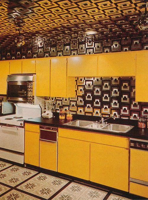 1970s Kitchen Decor Yellow Kitchen Decor 70s Home Decor 1970s Kitchen