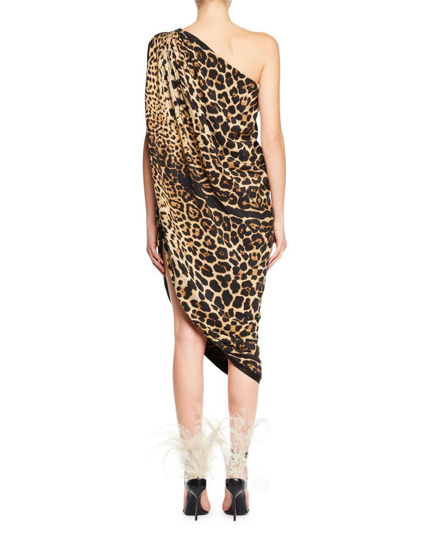 5b4e4cdbc26 One-Shoulder Asymmetric-Hem Leopard-Print Silk Dress | Products ...