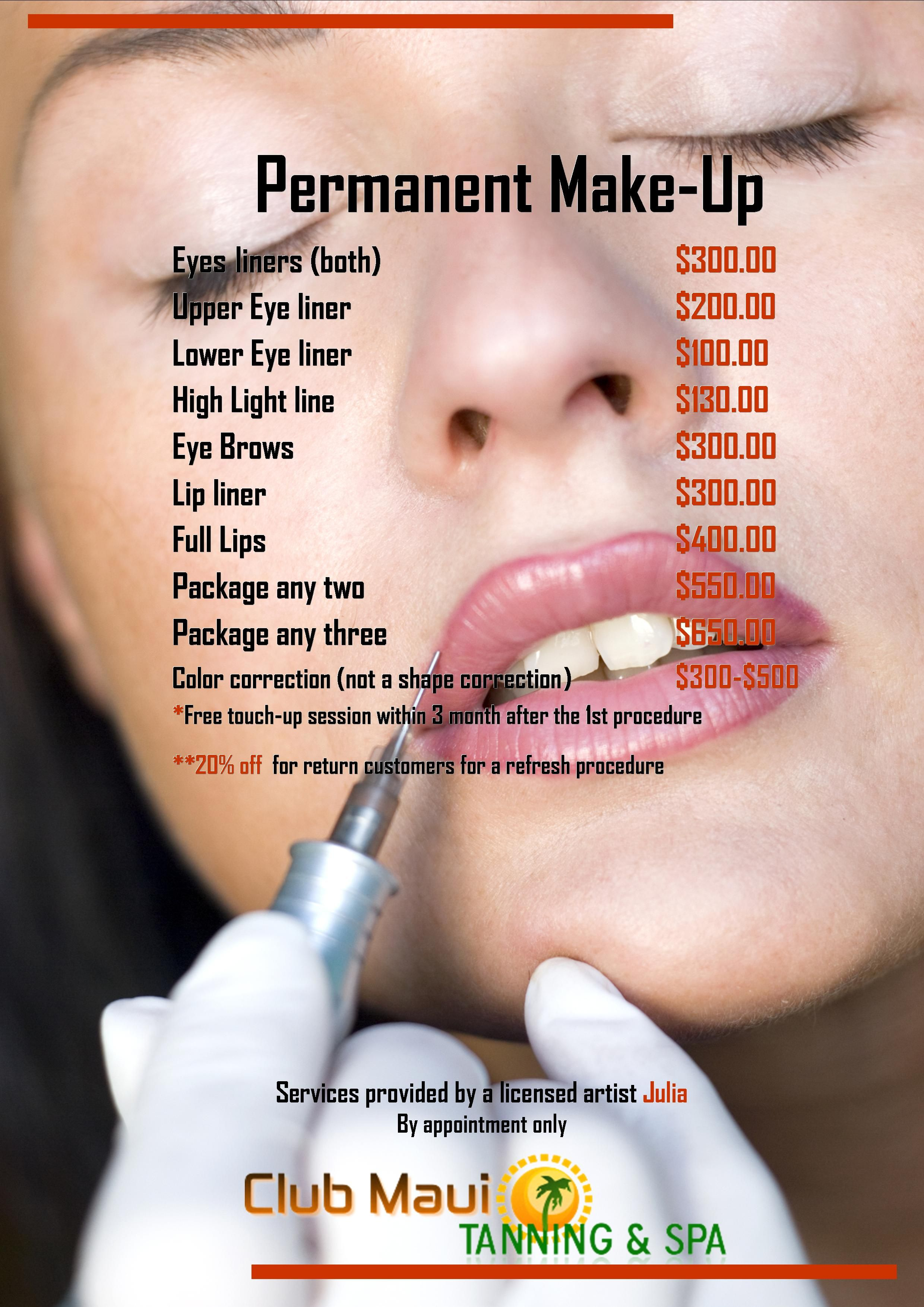 Club Maui Tanning Spa Permanent Makeup price list