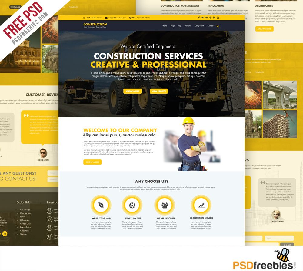 Construction Company Website Template Free PSD | Construction ...