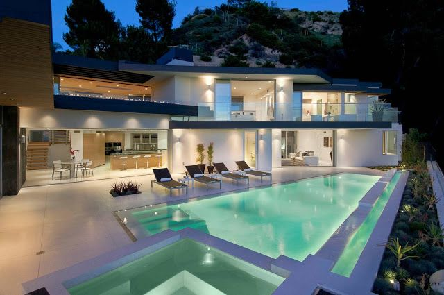 1734 Doheny - Cliff View Modern Home In Hollywood Hills, California on bedroom night, window house night, landscaping house night, kitchen night, bathroom night, home house night, water house night,
