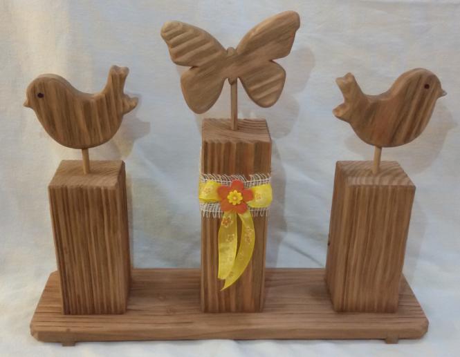 Holz Vogel Und Schmetterling