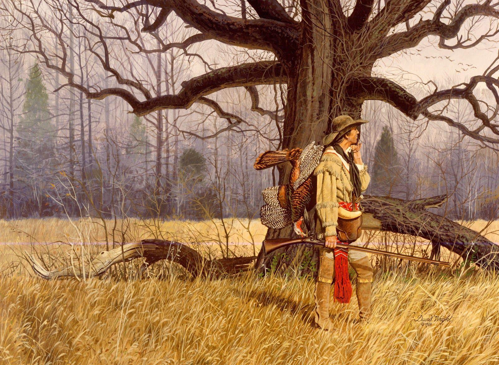 Flintlock And Tomahawk David Wright Native Americans Turkey Hunting Wildlife Art Indian
