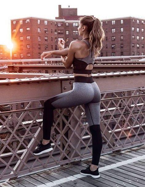 fb2a9317e2d8d leggings sports bra matching set sportswear gym grey leggings colorblock  workout workout leggings gym clothes
