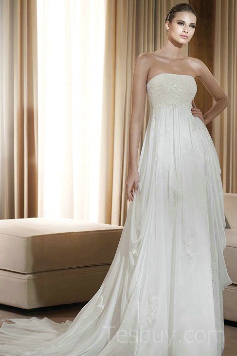 Chiffon Lace Strapless White Maternity Wedding Dresses Wholesale ...