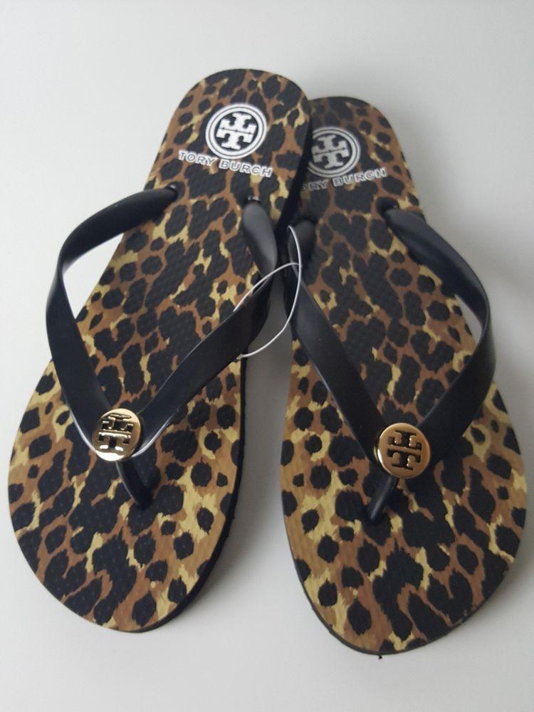 0f446499a3bd83 TORY BURCH Leopard Flip Flop Sandals Black Gold Logo Size 9 NEW  fashion   clothing
