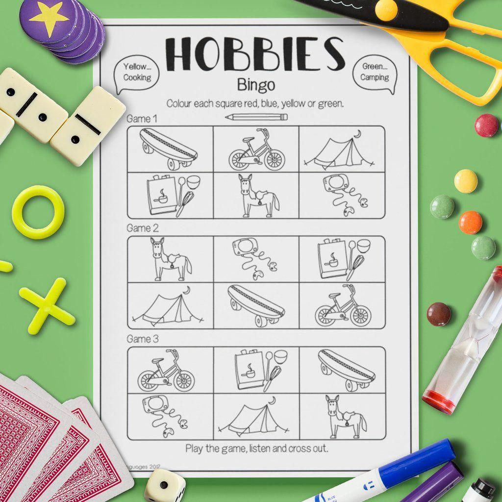 Esl Kids Hobbies Bingo Game Activity Worksheet Esl