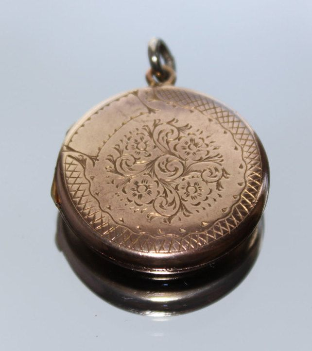 Vintage Antique Gold Coloured Etched Floral Design Locket Photo Picture Pendant (no chain) - c1800s by GillardAndMay on Etsy
