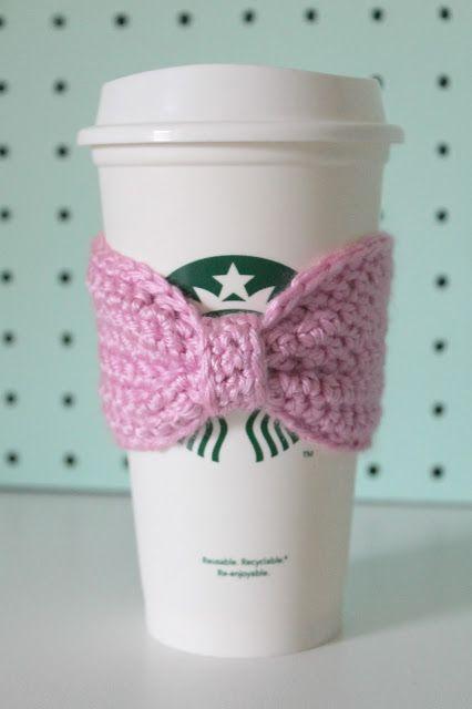 Crocheted Bow Coffee Sleeves Crochet Fun Crochet Bows Crochet