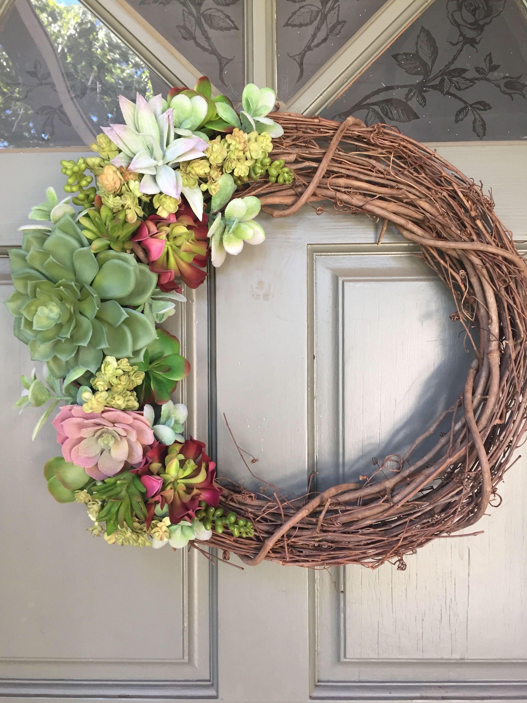 Bon Artificial Succulent Wreath, Front Door Wreath, Succulent Wreath, Year  Around Wreath, Artificial Wreath