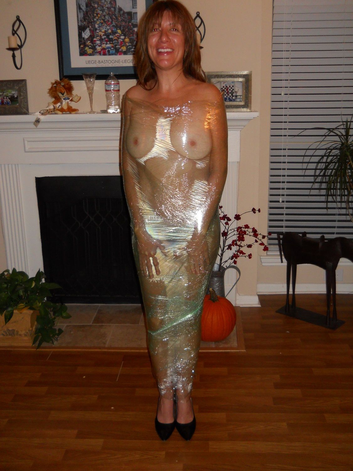 Naked girl saran wrap #12