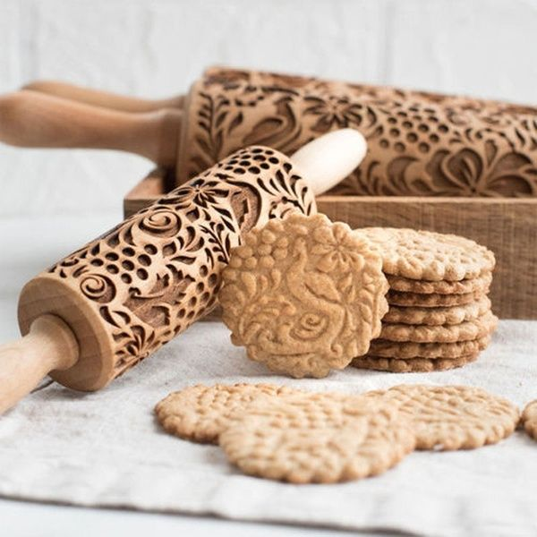 Christmas Wood Embossing Rolling Pin Cookies Biscuits Baking Dough Home Kitchen  Rolling Pin  | Wish