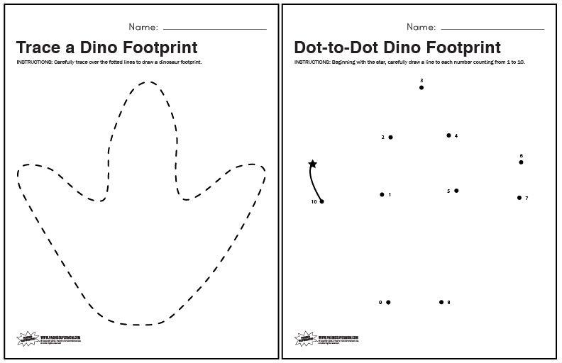 Dinosaur Footprint Tracing And Dot To Dot Worksheets Paging Supermom Dinosaur Worksheets Dinosaurs Preschool Dot Worksheets
