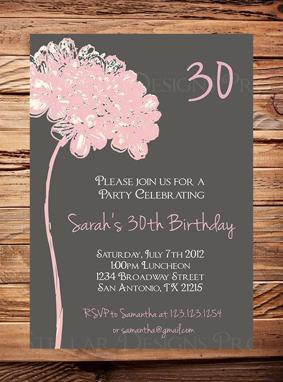 30th Birthday Invite, 40th, 50th Birthday, Adult Flower Birthday - birthday invitation for adults