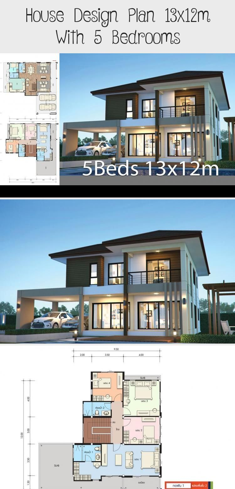 House Design Plan 13x12m With 5 Bedrooms Home Design With Plansearch Contemporarymodernhouses Modernho In 2020 Home Design Plans House Design Modern Tropical House