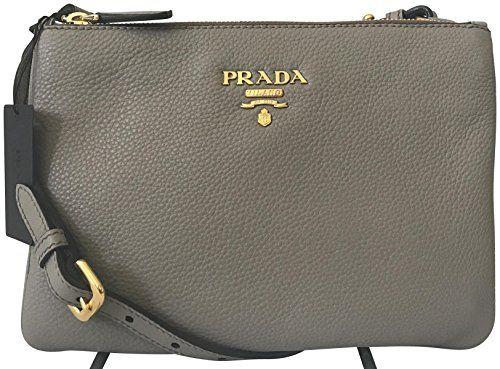 ec52d295ff27 SALE PRICE -  1100 - Prada Dove Gray Vitello Phenix Designer Crossbody Bag  for Women 1BH046