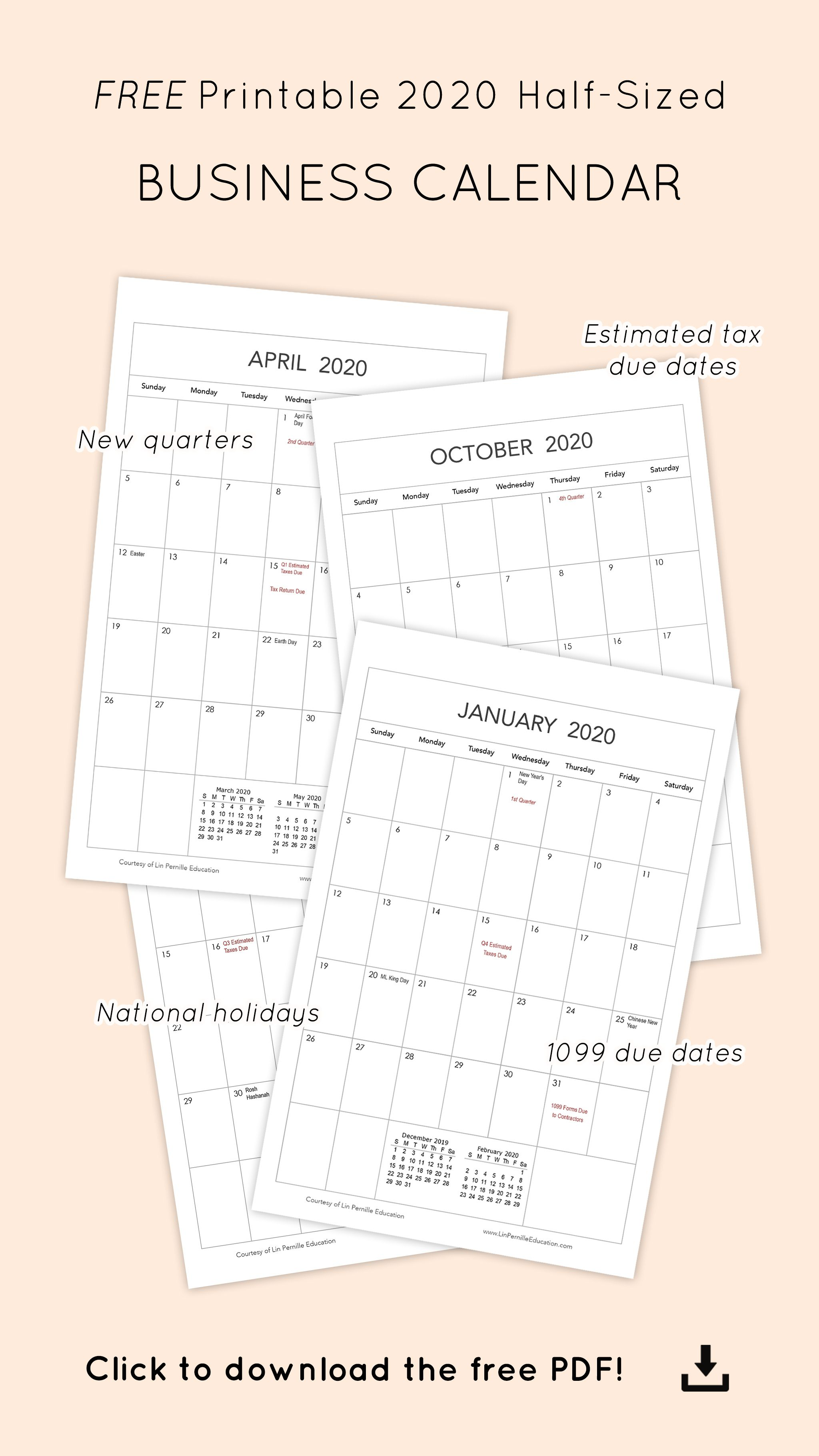 Printable 1099 Form 2020.Free Printable Monthly 2020 Business Calendar Photography